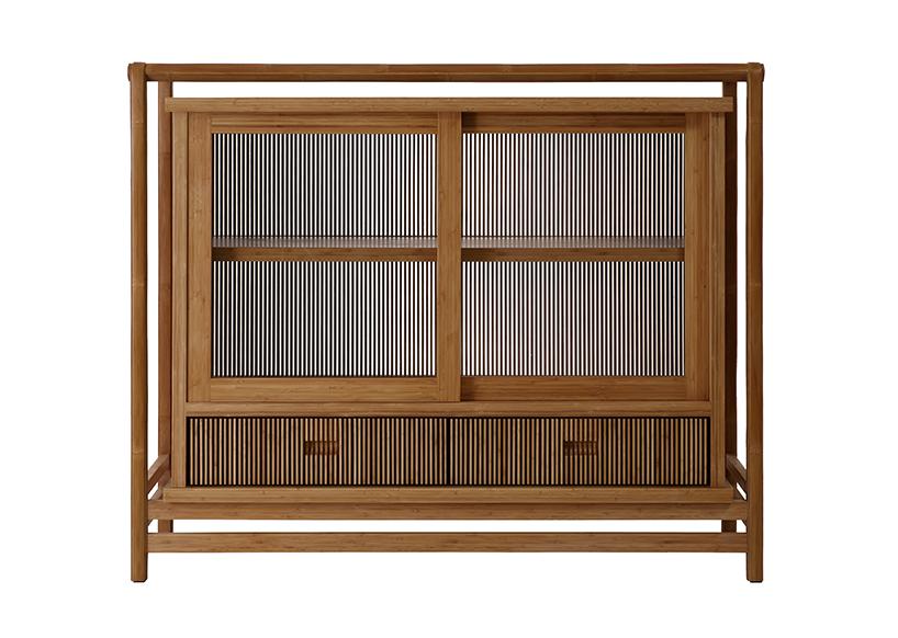 此件茶柜设计改良了传统弯管竹家具易碎裂的缺点,采用创新技艺,将
