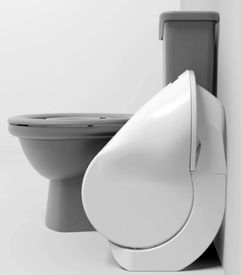 iota折叠马桶可缩小尺寸并减少耗水量 所有图片均由加雷斯汉弗莱和艾略特怀特利提供 作为加雷斯汉弗莱 和艾略特怀特利在哈德斯菲尔德大学接手的本年度最后一个项目,iota折叠马桶可缩小尺寸并将冲水时的耗水量减少50%以上。现有马桶的存水弯在清洗时需要消耗大量的水资源,并且这些马桶不适用于小型浴室,为了解决上述问题,发明了一种能够使便池折叠起来的机构。 该综合功能在仍然保持气密封的同时,将内置U形弯管与污水管相分离。当闭合在冲水位置时,该组件能够在释放水箱开关的同时重新结合。位于垂直位置时,
