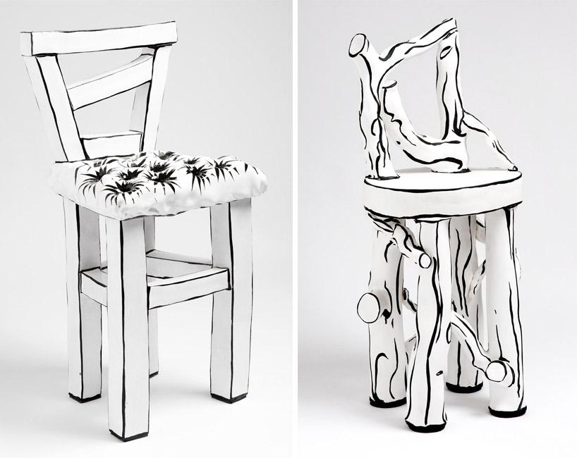 陶瓷椅子喷涂仿木纹的漆并绘有插画