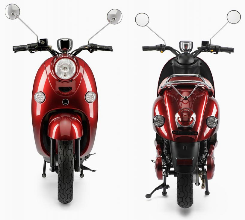 100 km range UNU electric scooter features portable battery unit-designboom-07