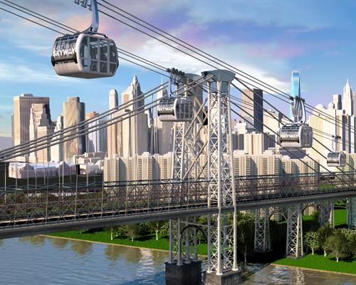 """纽约计划建空中高速缆车"""" 东河空中缆车 """",将大大缩短两岸往来时间"""