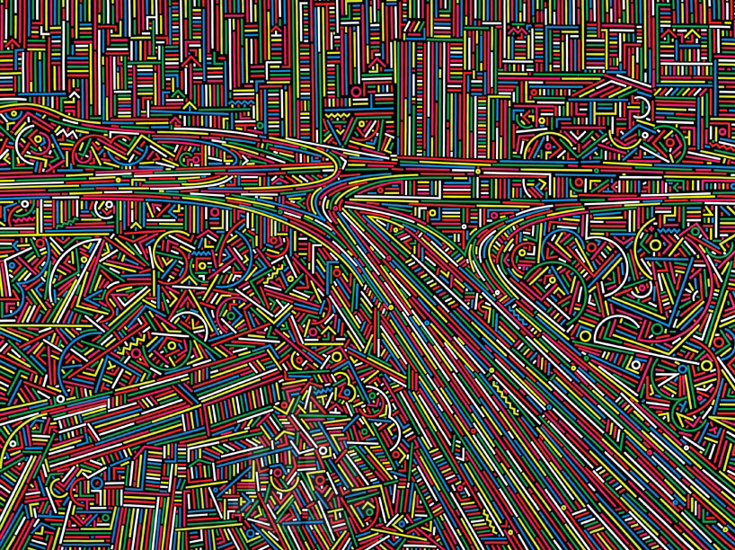 """拥有系列作品""""城市DNA""""、""""隐形诗""""以及近期刚完成的""""城市流""""。每一系列作品都秉承了他一如既往且独一无二的视觉风格,线条、几何形状和色彩是其作品中最为凸显的元素。作品借助这三样独特元素,融合了各种丰富多样的主题,有城市现状分析以及城市艺术,""""城市流""""可以说是这一系列主题发展的延续。  上海 No."""
