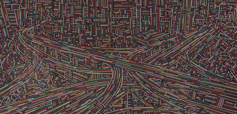 用复杂线条描绘城市结构