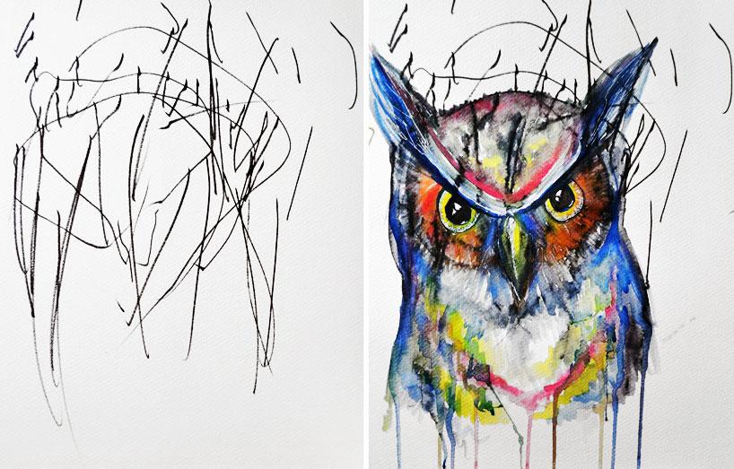 艺术家将儿童 涂鸦 转变成水彩画作