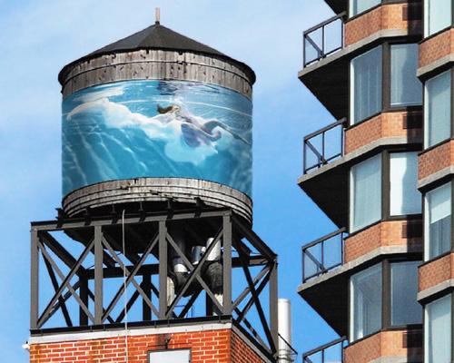 著名艺术家通过装扮屋顶 储水箱 重新定义纽约城天际线