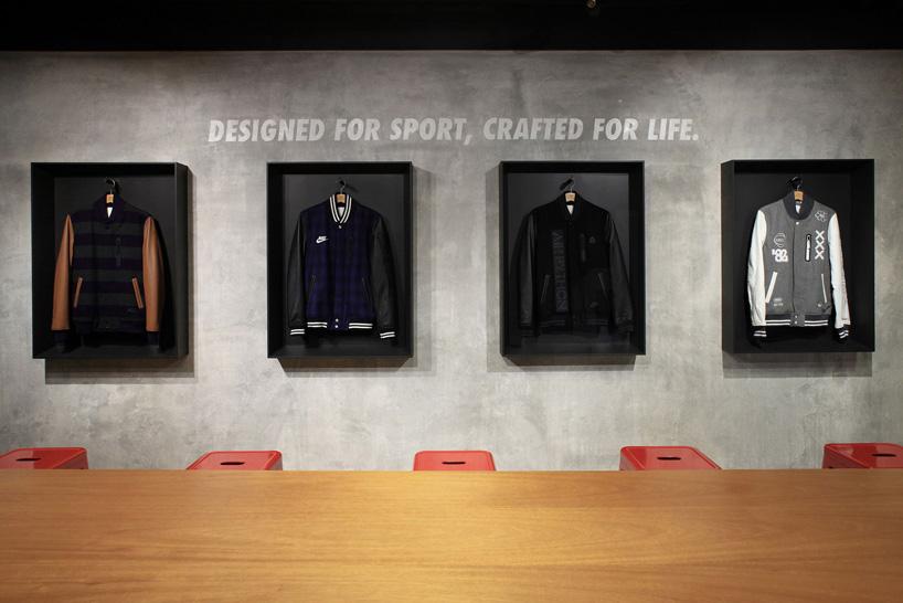 体育运动图标和展示橱窗,展窗内展示了该品牌(耐克)的经典服装产品.