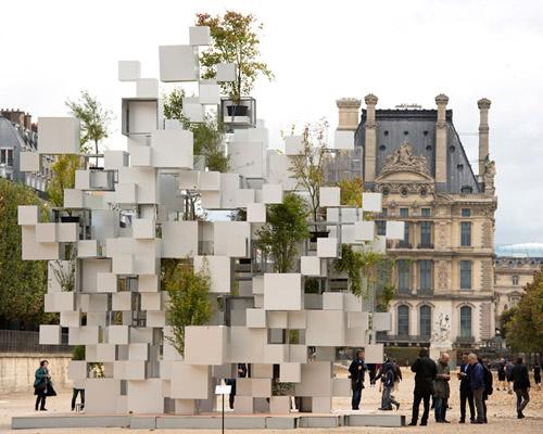 藤本壮介 为位于巴黎的层叠立方体装置增添绿意