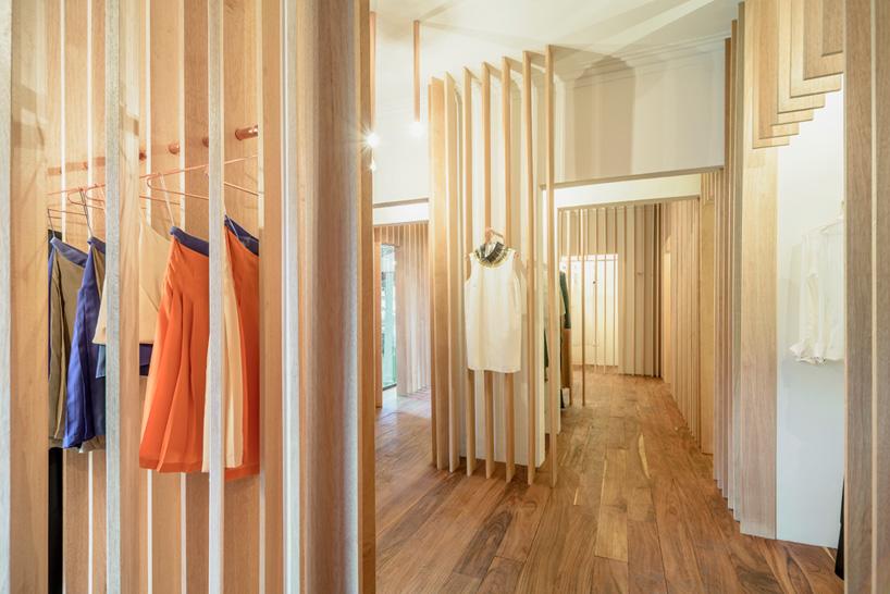 zeller & moye建筑事务所用木条装饰的墨西哥sandra weil 零售店