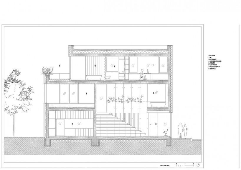 住宅的室内由裸露的结构混凝土墙与嵌入的木壳构成.