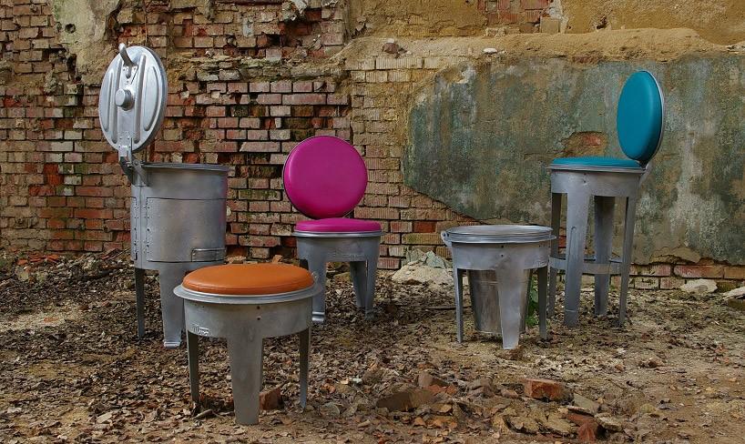 fabrika用老式金属垃圾桶打造bins系列家具