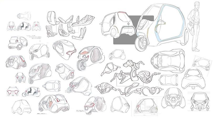 手绘踩三轮车的小刺猬矢量图
