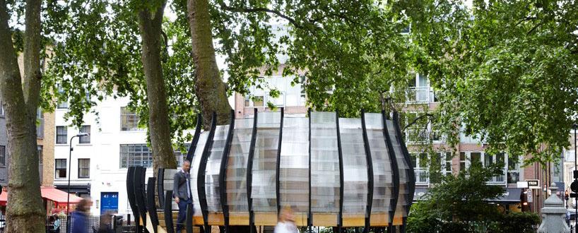 伦敦公园内的临时办公树屋