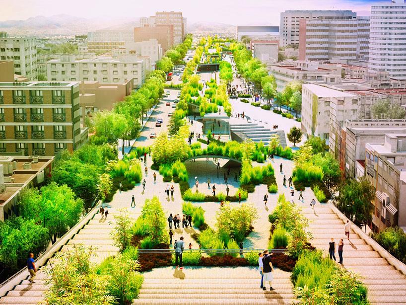 绿植长廊手绘效果图