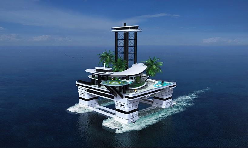 便携式小岛高高的顶层豪华套房有两部专用电梯可直达
