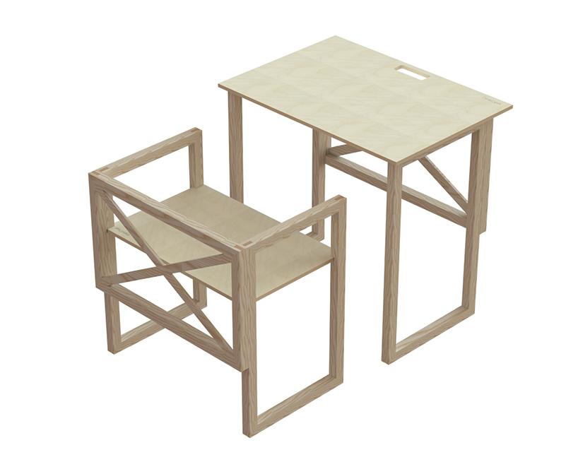 perkins的木制家具设计可以堆叠摆放节省空间