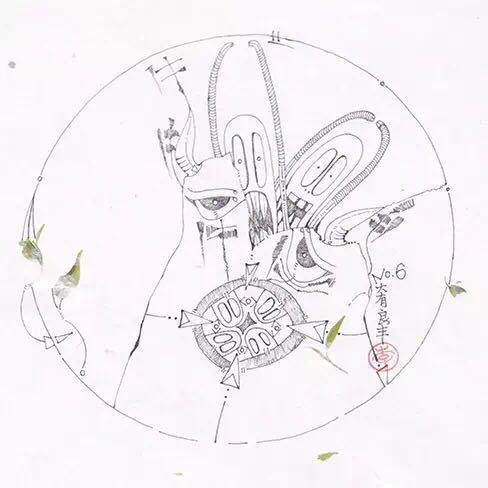 圆月图形创意手绘