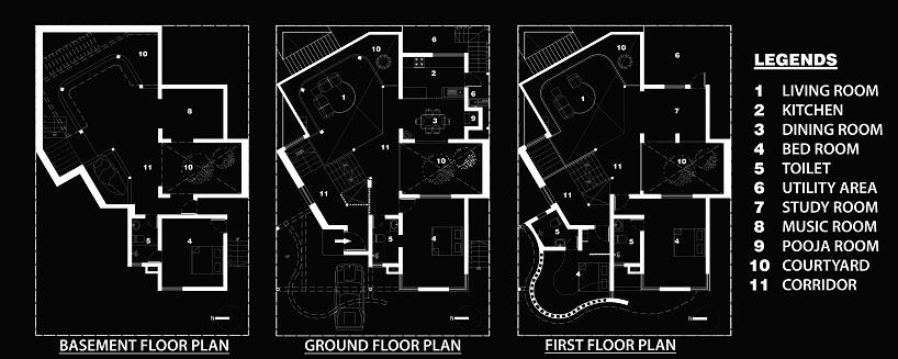 三层楼高的院子是整栋房子的中心