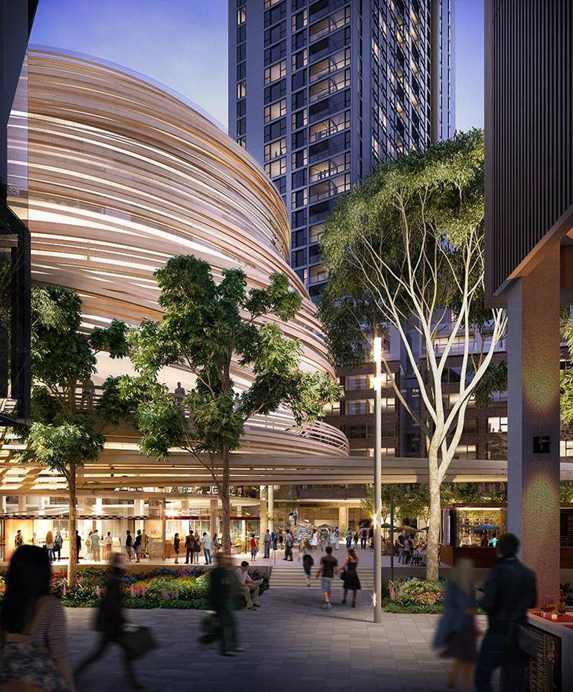 位于悉尼 达令广场 中心的六层螺旋建筑是隈研吾在澳大利亚的第一个