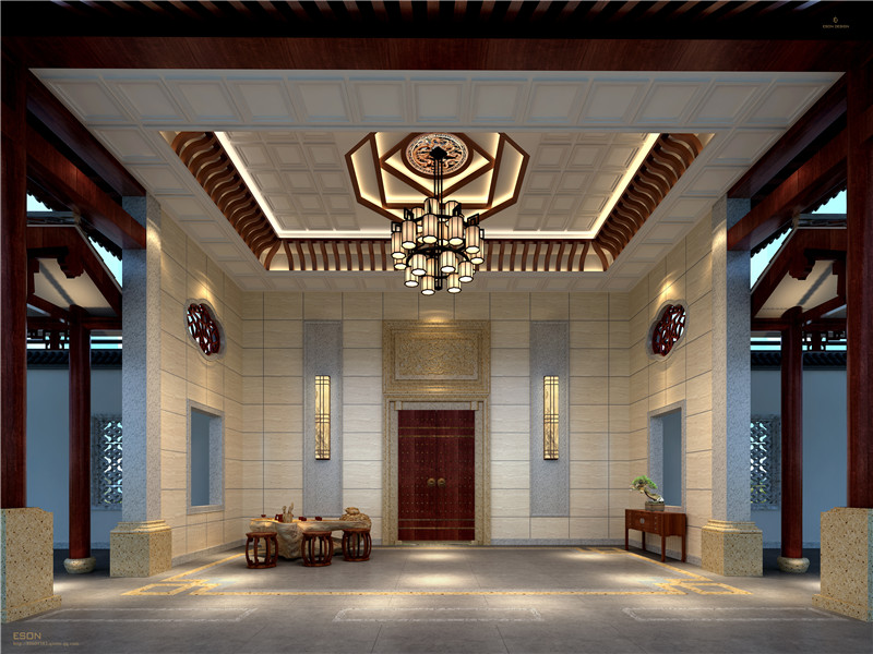 新中式徽派酒店内部装修