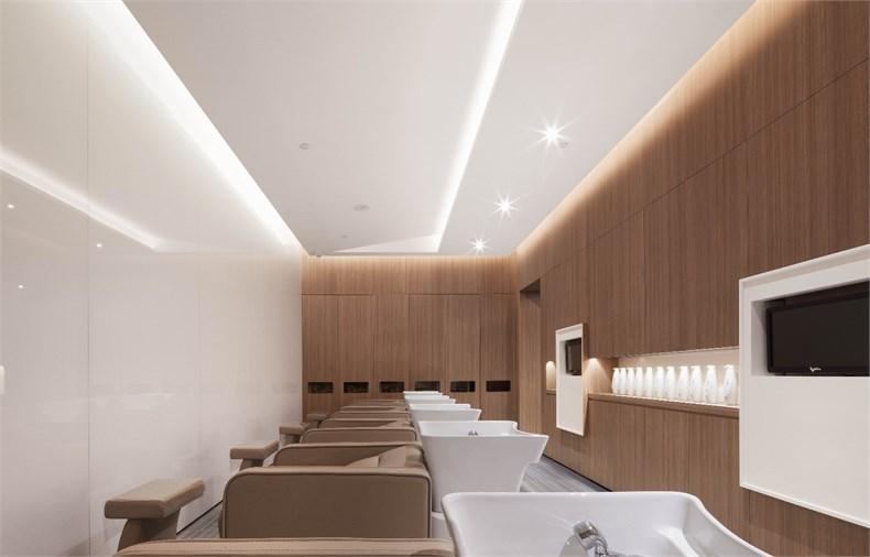 圆角设计有一种工业感,沙发后背的墙体雕刻烤漆,更具装饰性.