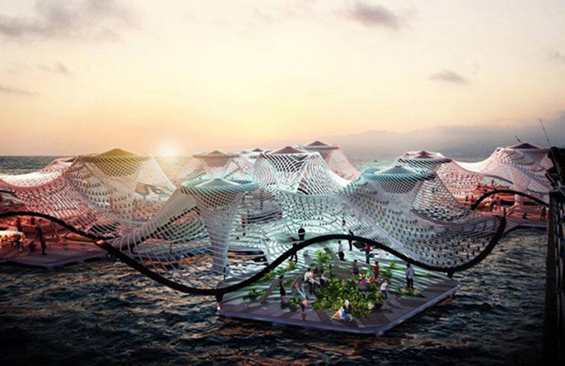 漂浮在海上的净水建筑系统