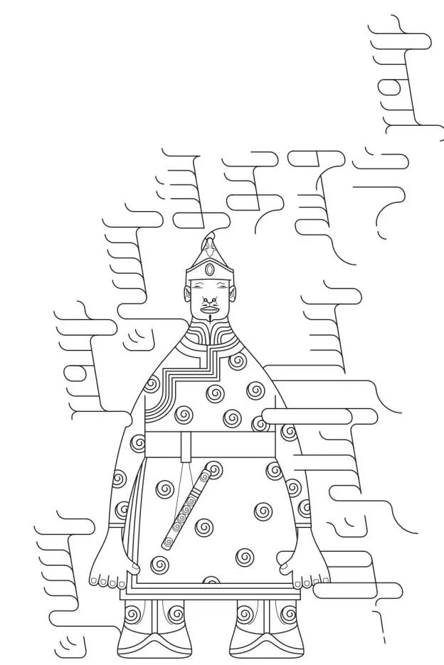 手绘蒙古元素黑白图片