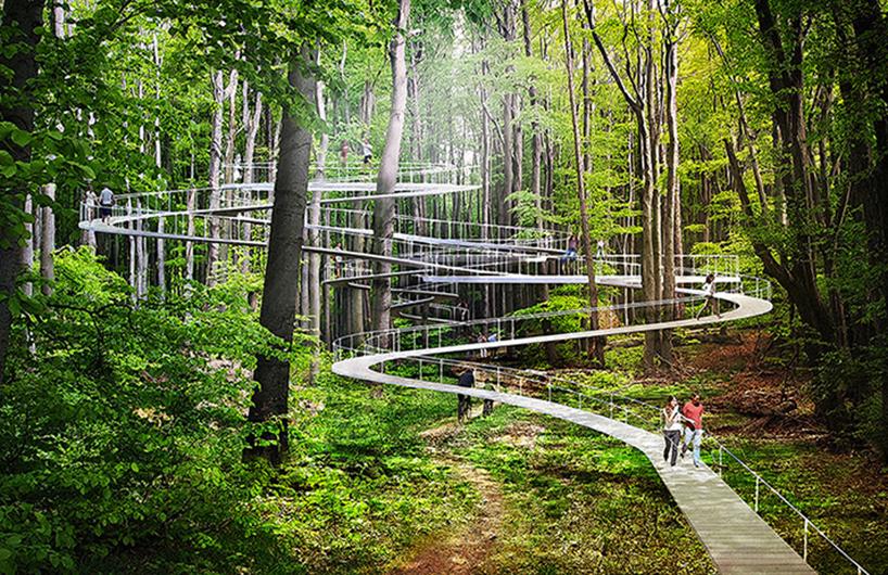 dror工作室在伊斯坦布尔公园的总体规划中设计林间的高架走廊