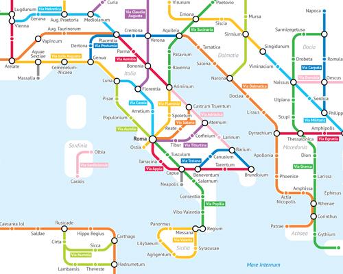 统计学学生用地铁路线图表示出古罗马帝国