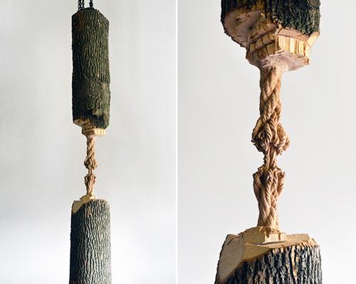 加拿大艺术家在树干中间雕凿出一根绳子