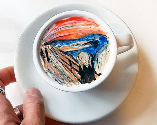 咖啡师lee kang-bin完美的咖啡拉花艺术