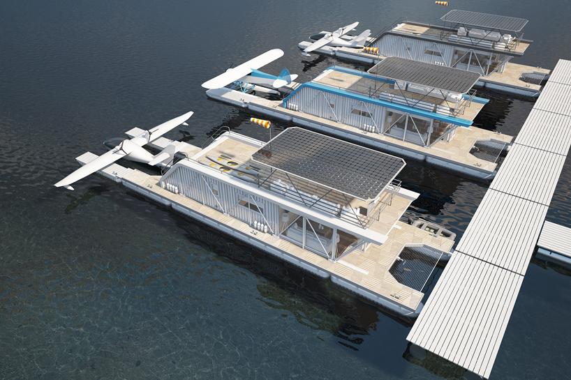 能停靠水上飞机的新型游艇hydrohouse