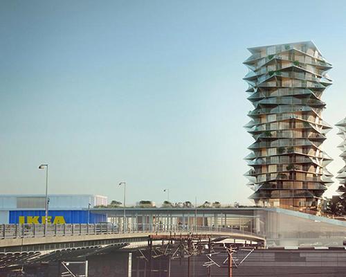 """BIG事务所在哥本哈根中心区域设计的""""仙人掌住宅大楼""""将与宜家的新购物商场成为邻里"""