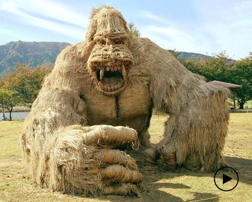 脑洞大 用秸秆制作大型动物雕塑