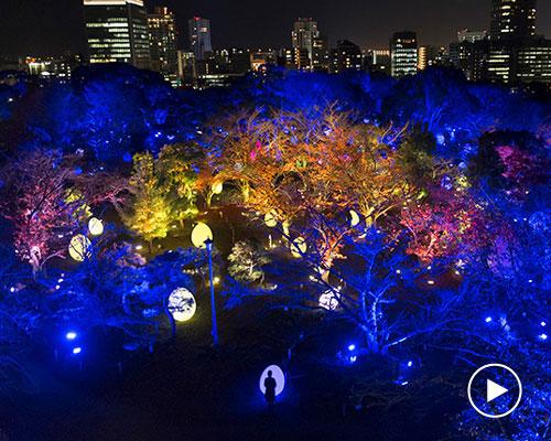 日本福冈城遗址的灯光秀