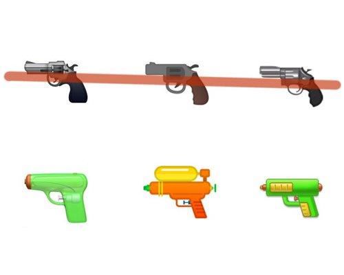 谷歌与facebook响应号召 手枪emoji变水枪