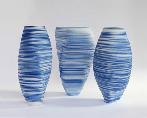 olivier van herpt 推出3D打印蓝白相间瓷花瓶