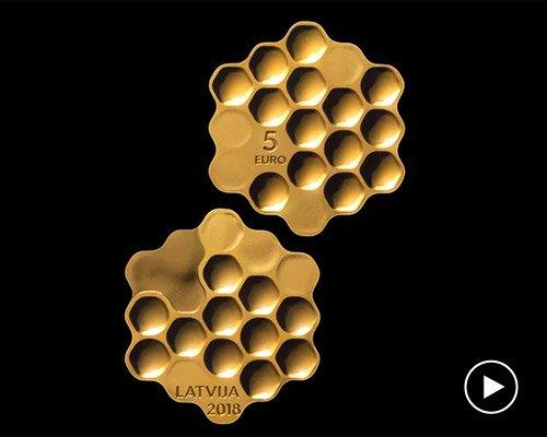 拉脱维亚发行蜂巢形5欧元硬币