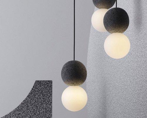 火山岩与乳白玻璃组成的反差感灯具