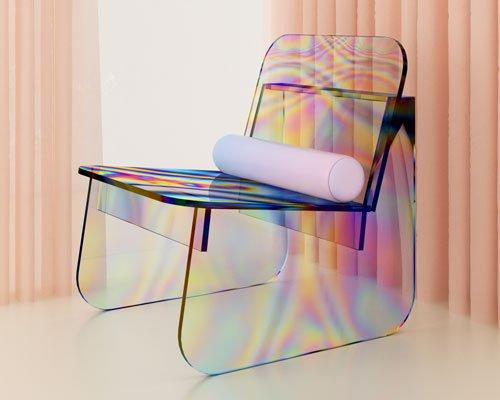 披上虹彩外衣的玻璃座椅