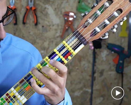 用乐高做指板的微分音吉他