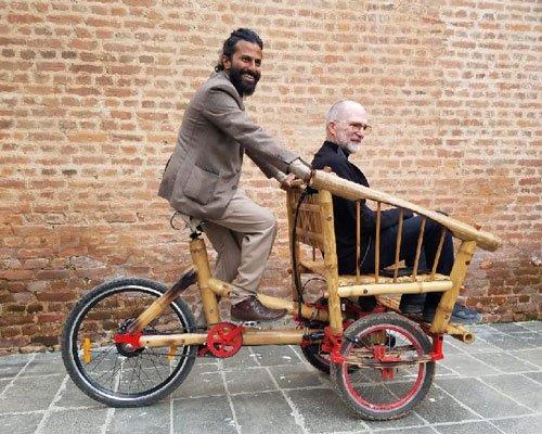 竹材制作环保三轮车 绿色出行新选择