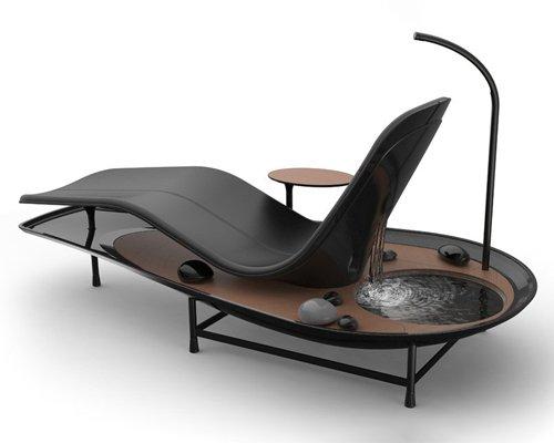 自带禅意花园的概念躺椅