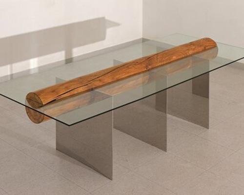 木柱与金属+玻璃组成的简约家具split
