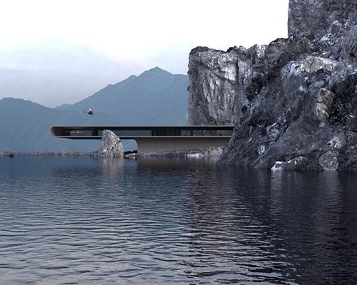海岸悬崖边的悬挑式概念住宅