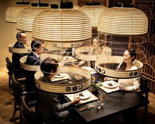 透明提灯下的安全日式晚宴